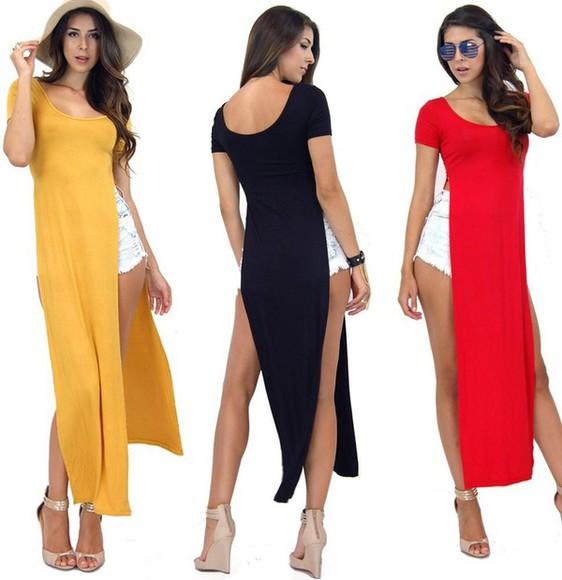 maxi dress side split maxi dress