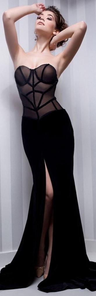 dress strapless sheer black dress formal dress evening dress floor length open slit
