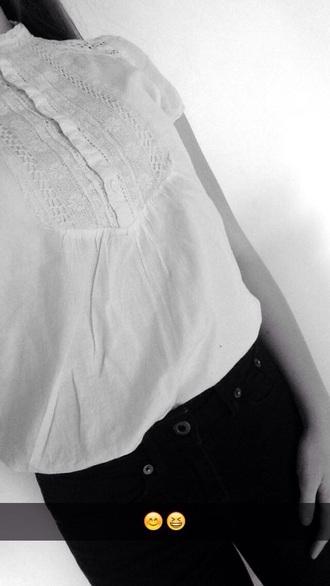 blouse white blouse black high waisted pants zara kids jack wills.com