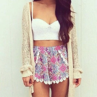 shorts floral lace pink purple flowy oversized cardigan cute winter spring top cardigan