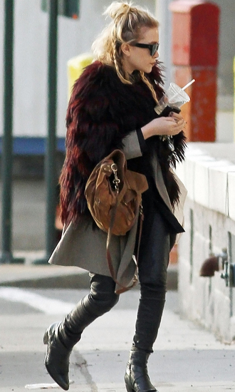 jacket fur jacket mary kate olsen fall outfits boots bag