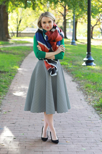 poor little it girl blogger scarf bag jewels blanket scarf striped skirt flare skirt midi skirt green fall outfits