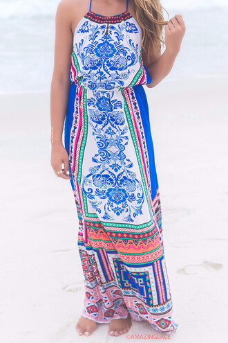 dress paisley tribal pattern amazinglace halter halter top maxi maxi dress multi colored