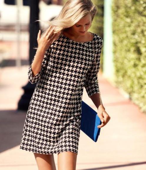 black mini dress shift dress houndstooth print houndstooth white