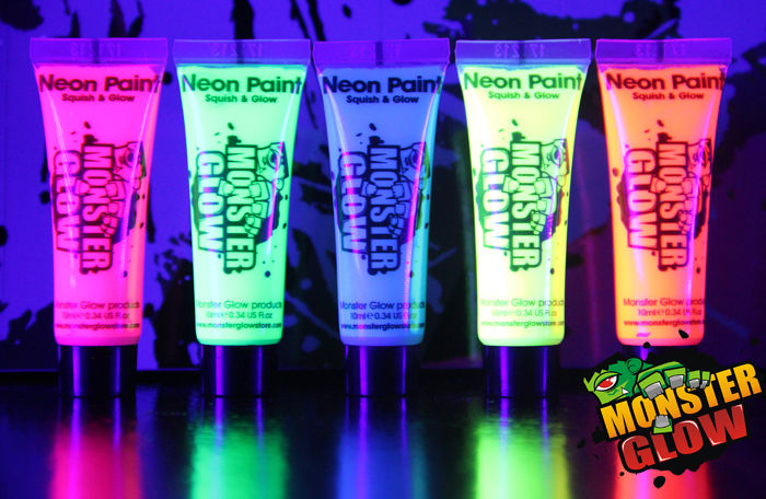 UV Glow Neon Face Body Paint 10ml Set of 5 Fluorescent Monster Glow | eBay