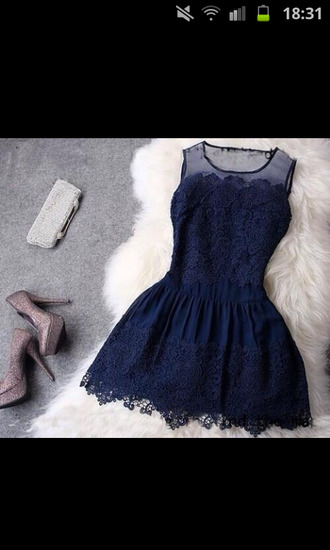 dress dark blue dress short dress blue lace dress navy dress sparkly shoes