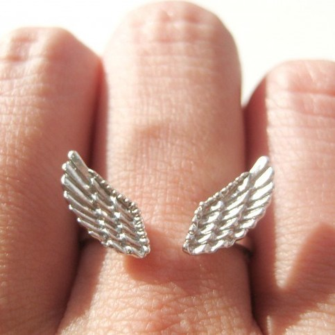Feather Angel Wings Adjustable Ring in Silver with Textured Detail · DOTOLY · The Animal Wrap Rings and Jewelry Store