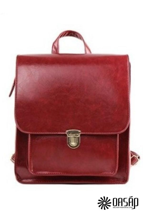 Preppy-style PU Backpack - OASAP.com