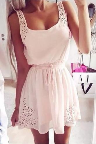 dress white muster beige dress wonderful