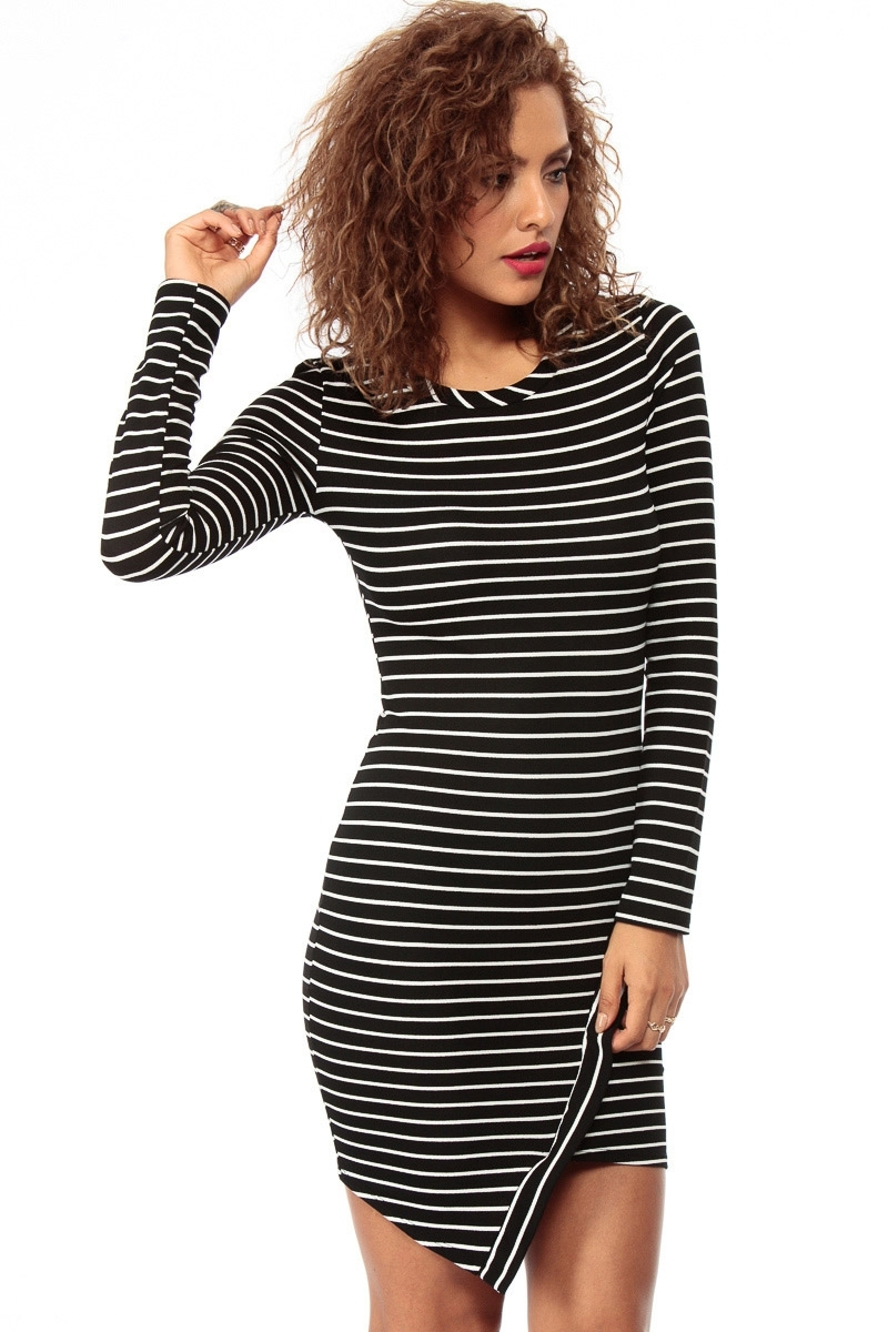 Long sleeve asymmetrical striped dress