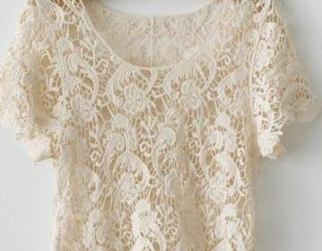 New Arrival Cute Japanese Style Crochet Lace Shirt Tops on Luulla