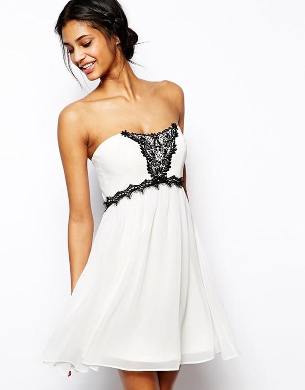dress white dress sleeveless dress strapless dress lace trim