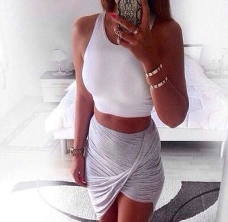 skirt asymmetrical skirt gray skirt top jewels shoes