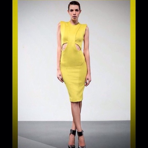 Dress Zhivago Calf Length Dress Yellow Dress Black Dress Black