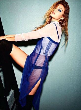 dress blue blue dress mesh dress gigi hadid top model editorial lace