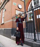 dress,tumblr,maxi dress,velvet,velvet dress,asymmetrical,burgundy,burgundy dress,boots,black boots,belt,bag,fall outfits