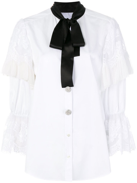 shirt bow women white cotton silk top