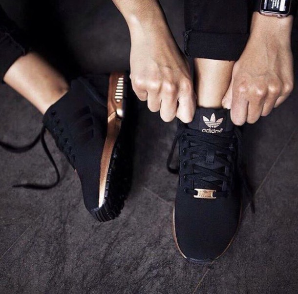 862fd11d3514b shoes adidas black trainers black black shoes trainers adidas shoes rose  gold gold sports shoes black