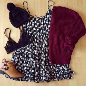 dress floral dress sweater maroon sweater dress cute sweaters cute dress cute top summer dress