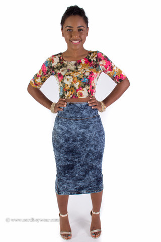 Waist Acid Wash Perfect Fit Denim Pencil Skirt |