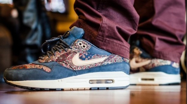 hot sale online 2f9d8 30441 shoes nike nike air max 1 nike air max 1 liberty shoes bourton liberty print  blue