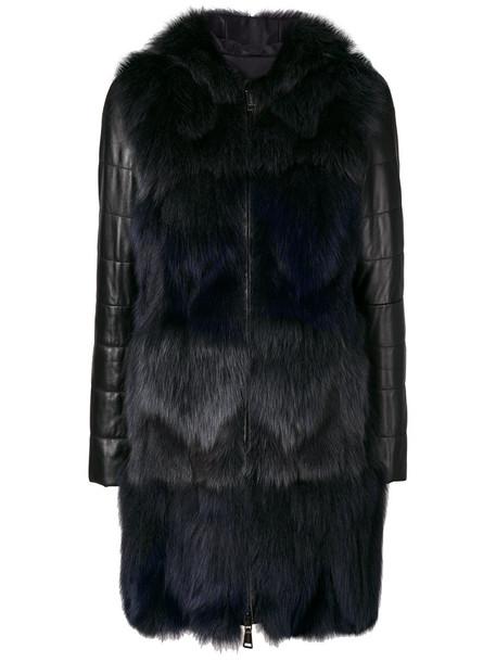 Cara Mila coat fur fox women leather black