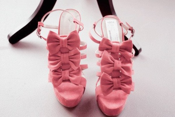 shoes pink pink bow high heels cute high heels