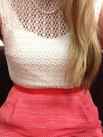 skirt boucle skirt lace top crochet top pearl pearl necklace red skirt white top pink skirt top preppy lace pink boucle white blonde hair