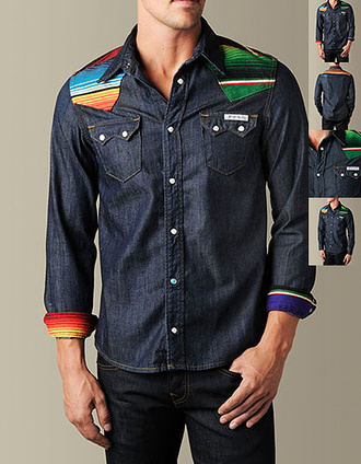 shirt jeans blue red pink turquoise yellow purple green white black aztec shirt denim shirt button menswear boy guys blue shurt blue shirt celebrity series movies brands clothes loves summer aztec denim denim jacket
