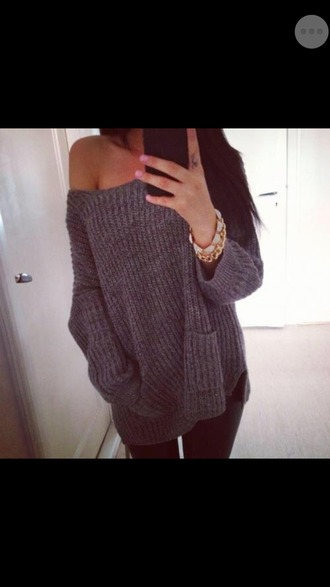 pull grey pullover off the shoulder sweater off the shoulder knitwear grey sweater grey