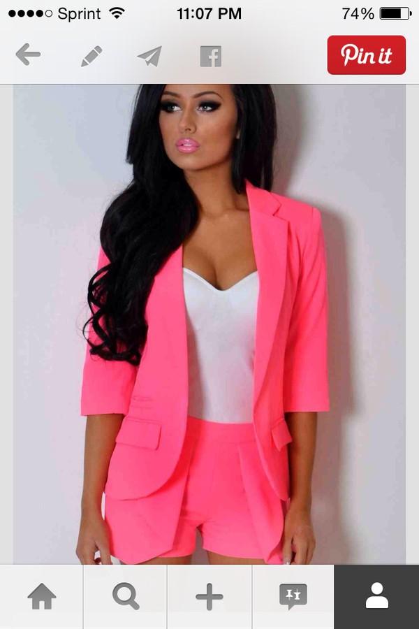 jacket neon pink blazer neon fluo