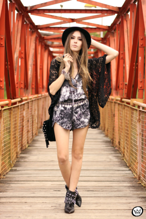 fashion coolture blogger sunglasses romper hat shoes
