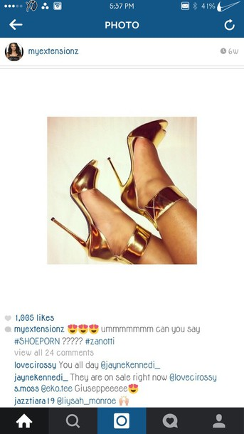 shoes gold heels metalic shoes