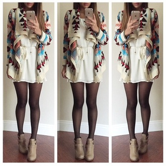 jacket cardigan aztec aztec print coat coat dress white white dress white jacket white coats winter jacket winter coat winter outfits winter outerwear boots fall outfits shoes
