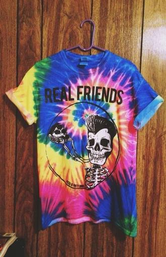 tye dye shirt pizza skeleton friends