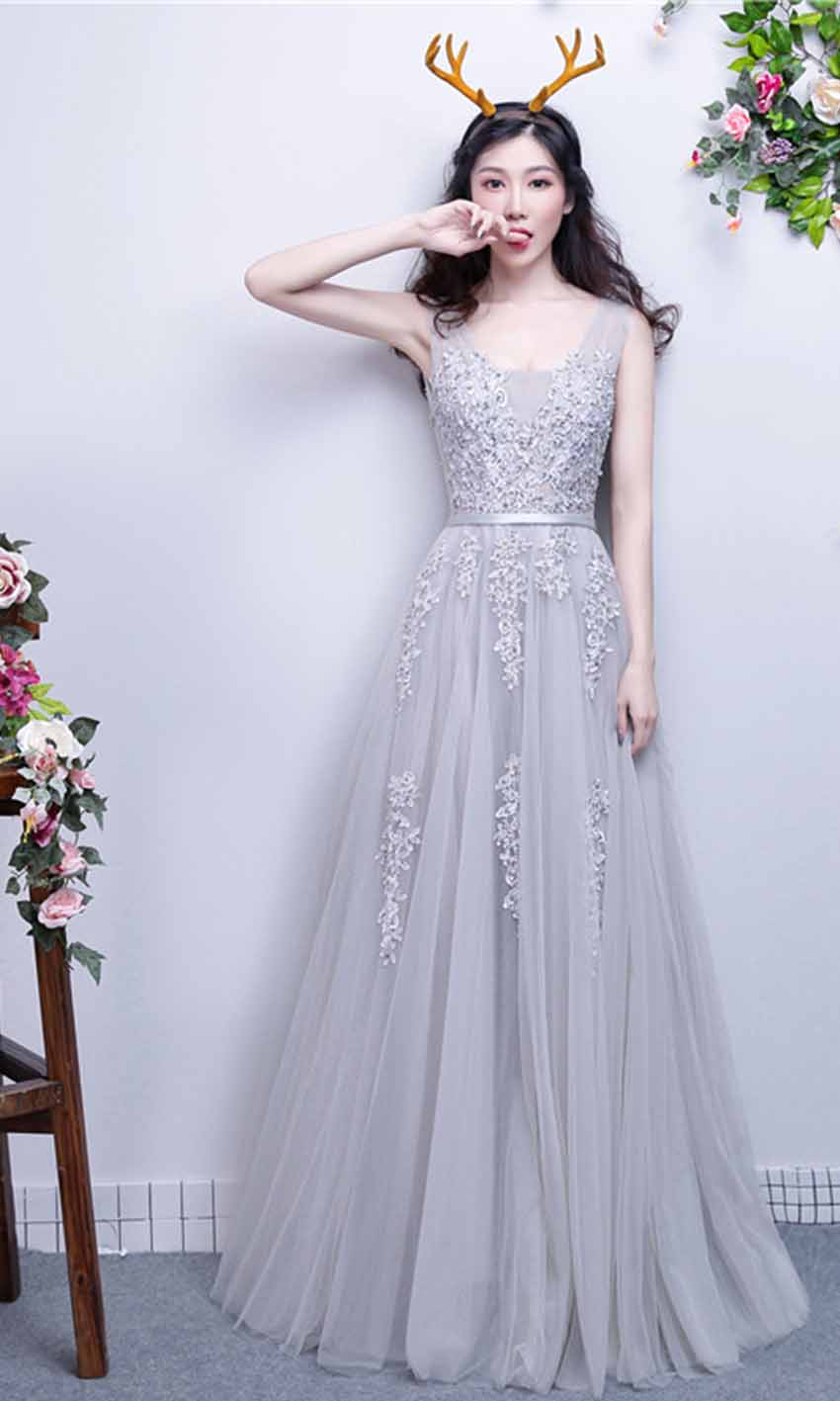 Applique Lace V-neck Long Grey Prom Gowns with Straps KSP451 [KSP451 ...