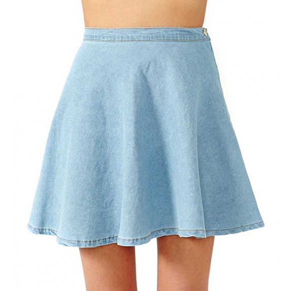 High Waist Denim Skater Skirt