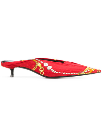 women mules leather silk red shoes
