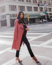 coat,long coat,wool coat,pink coat,pumps,high heel pumps,pants,black pants,printed blouse