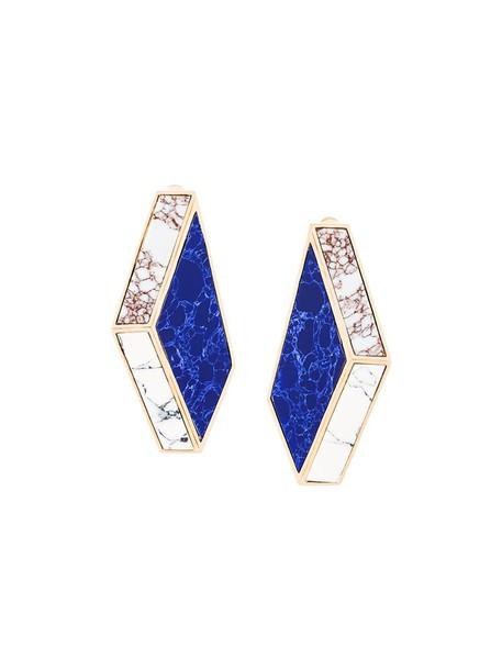 ESHVI women earrings gold blue jewels