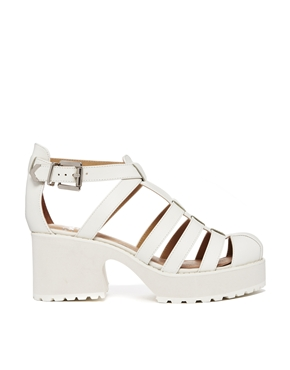 Shellys London | Shellys London Kaplow White Leather Gladiator Heeled Sandals at ASOS