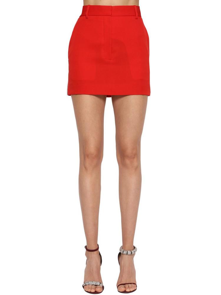 CALVIN KLEIN 205W39NYC Side Band Wool Gabardine Mini Skirt in red