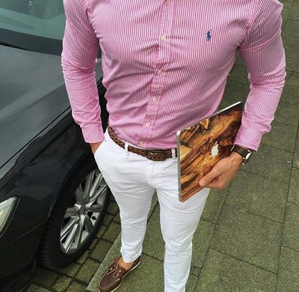 shirt menswear ralph lauren polo mens shirt white pants pants boat shoes