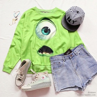 sweater cartoon mosters green cool tumblr monsters inc shoes