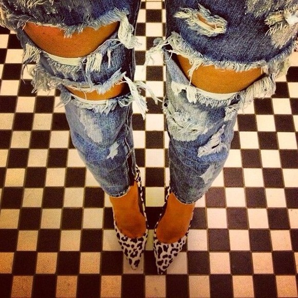 high heels pump shoes sandals jeans destroyed jeans sexy leopard print