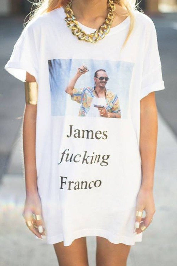 shirt white oversized print t-shirt casual long james franko picture james franco
