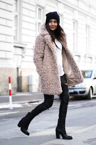 fashion landscape blogger coat shoes pants hat sunglasses bag zipped pants theclosetheroes sweater jeans jacket top