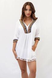 swimwear,cover up,exclusive,goldbodychain,white