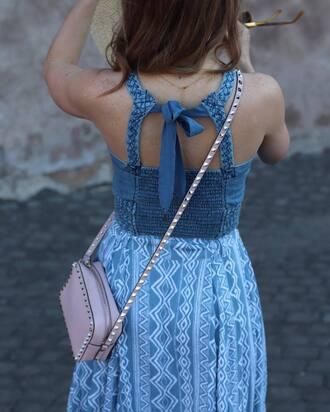 top tumblr blue top denim denim top skirt blue skirt bag nude bag