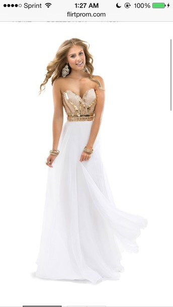 dress, prom dress, prom, white dress, gold, prom dress, long prom ...